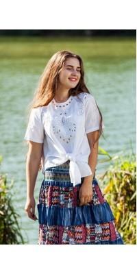 Блуза біла із зав'язками-бантом