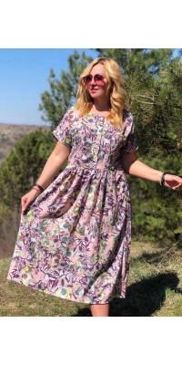 Плаття рожеве з квітами W-06