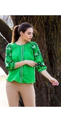 Блуза зелена вишита