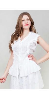 Блуза біла з рюшею