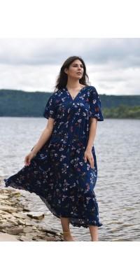 Плаття синє з квітами W-4