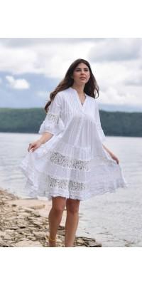 Плаття біле з мереживом 703