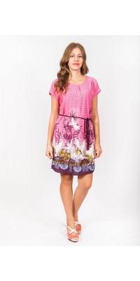 Плаття з пояском рожеве