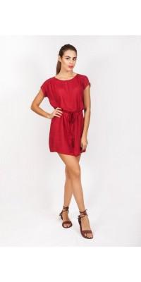 Плаття з пояском темно-червоне