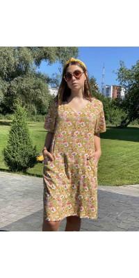 Плаття з кишенями гірчичного кольору W-3